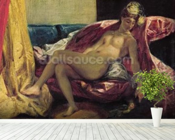 Reclining Odalisque or, Woman with a Parakeet, 1827 (oil on canvas) wallpaper mural room setting