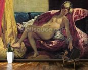Reclining Odalisque or, Woman with a Parakeet, 1827 (oil on canvas) wallpaper mural kitchen preview