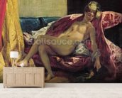 Reclining Odalisque or, Woman with a Parakeet, 1827 (oil on canvas) wallpaper mural living room preview