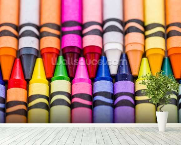 Crayons wallpaper mural room setting
