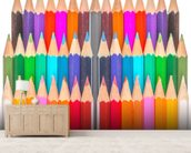Rows of Coloured Pencils wall mural living room preview