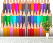 Rows of Coloured Pencils wall mural in-room view