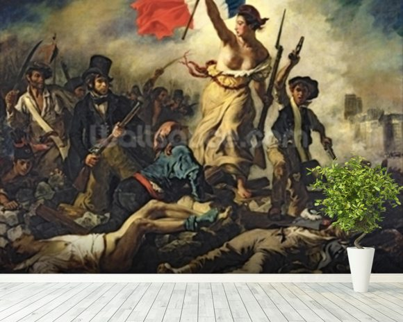 Liberty Leading the People, 28 July 1830 (oil on canvas) (for detail see 95120) wall mural room setting