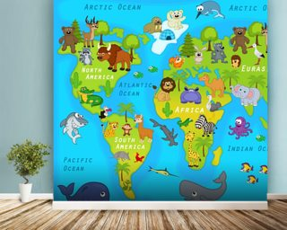 Kids map wallpaper childrens map wall murals wallsauce australia map of the world with animals wallpaper mural gumiabroncs Image collections