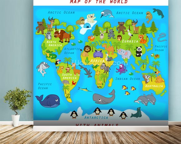 Map of the World with Animals wall mural room setting