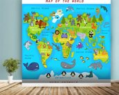 Map of the World with Animals wall mural in-room view