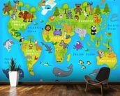 Map of the World with Animals wall mural kitchen preview