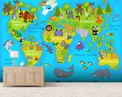 Map of the World with Animals wall mural living room preview