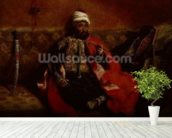 A Turk smoking sitting on a sofa, c.1825 (oil on canvas) wallpaper mural in-room view
