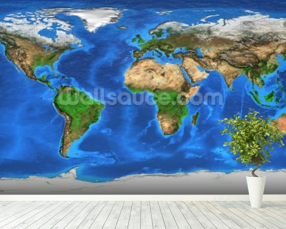 World Map and Landforms wallpaper mural room setting