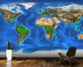 World Map and Landforms wallpaper mural kitchen preview