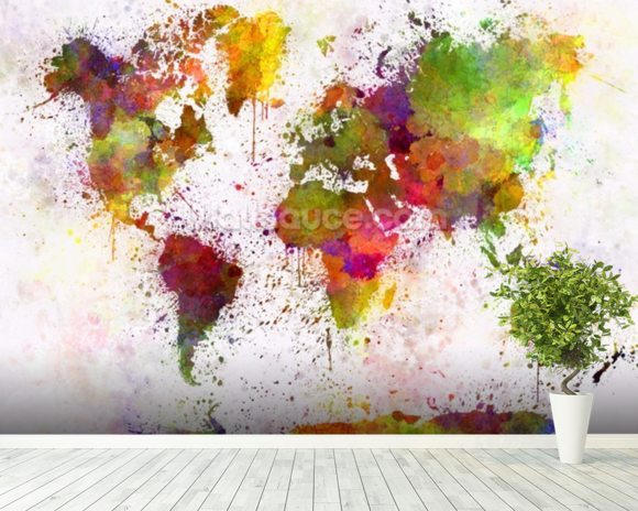 World Map Colour Splash Mural Wallpaper Room Setting
