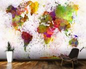 World Map Colour Splash mural wallpaper kitchen preview