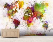 World Map Colour Splash mural wallpaper living room preview
