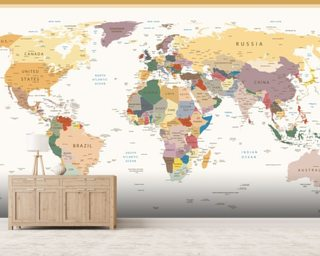 World map wallpaper wall murals wallsauce australia political world map vintage colours gumiabroncs Gallery
