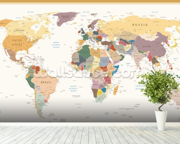 Political world map vintage colours wallpaper wall mural for Antique world map wall mural