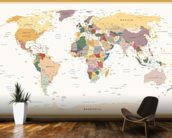 Political World Map Vintage Colours wall mural kitchen preview