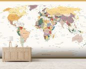 Political World Map Vintage Colours wall mural living room preview