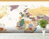 Political World Map Vintage Colours wall mural in-room view