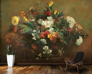 Flowers (oil on canvas) mural wallpaper