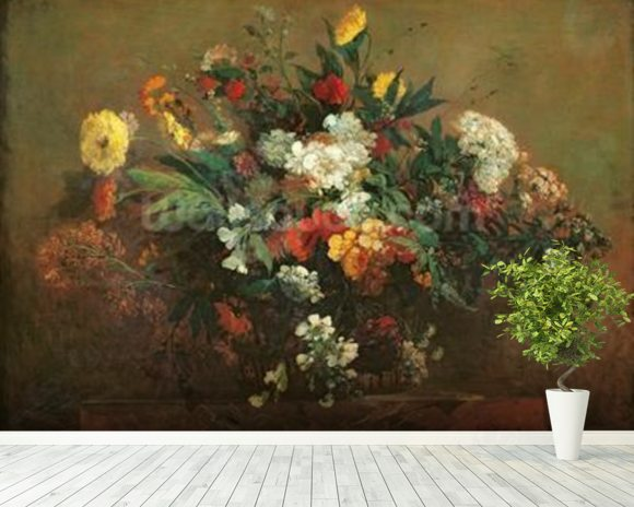 Flowers (oil on canvas) mural wallpaper room setting