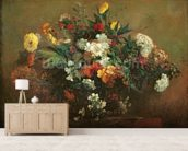 Flowers (oil on canvas) mural wallpaper living room preview