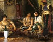 The Women of Algiers in their Apartment, 1834 (oil on canvas) mural wallpaper kitchen preview
