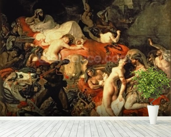 The Death of Sardanapalus, 1827 (oil on canvas) wallpaper mural room setting