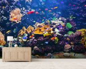 Fish City mural wallpaper living room preview