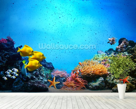 The Blue Sea wallpaper mural room setting