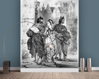 Faust meeting Marguerite, from Goethes Faust, after 1828, (illustration), (b/w photo of lithograph) mural wallpaper