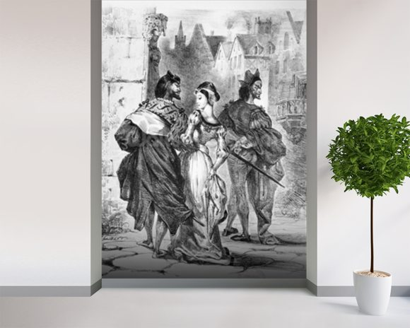 Faust meeting Marguerite, from Goethes Faust, after 1828, (illustration), (b/w photo of lithograph) mural wallpaper room setting