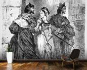 Faust meeting Marguerite, from Goethes Faust, after 1828, (illustration), (b/w photo of lithograph) mural wallpaper kitchen preview