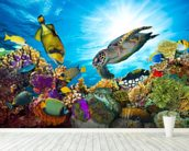 Coral Reef Diversity mural wallpaper in-room view