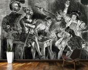 Mephistopheles and the Drinking Companions, from Goethes Faust, 1828, (illustration), (b/w photo of lithograph) wall mural kitchen preview