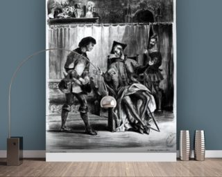 Mephistopheles and the Pupil, from Goethes Faust, (illustration), (b/w photo of lithograph) wallpaper mural
