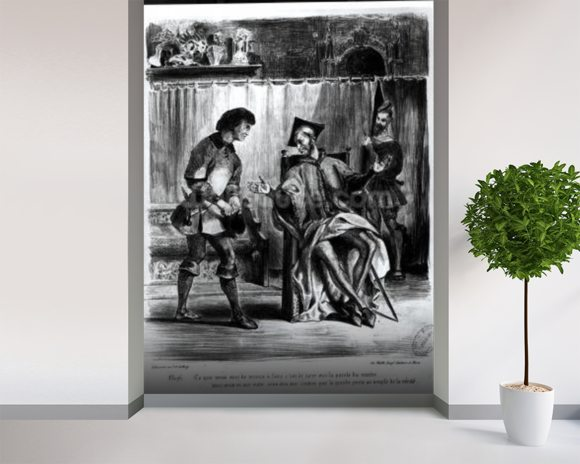 Mephistopheles and the Pupil, from Goethes Faust, (illustration), (b/w photo of lithograph) wallpaper mural room setting