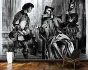 Mephistopheles and the Pupil, from Goethes Faust, (illustration), (b/w photo of lithograph) wallpaper mural kitchen preview