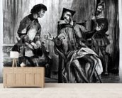 Mephistopheles and the Pupil, from Goethes Faust, (illustration), (b/w photo of lithograph) wallpaper mural living room preview