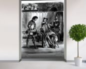 Mephistopheles and the Pupil, from Goethes Faust, (illustration), (b/w photo of lithograph) wallpaper mural in-room view