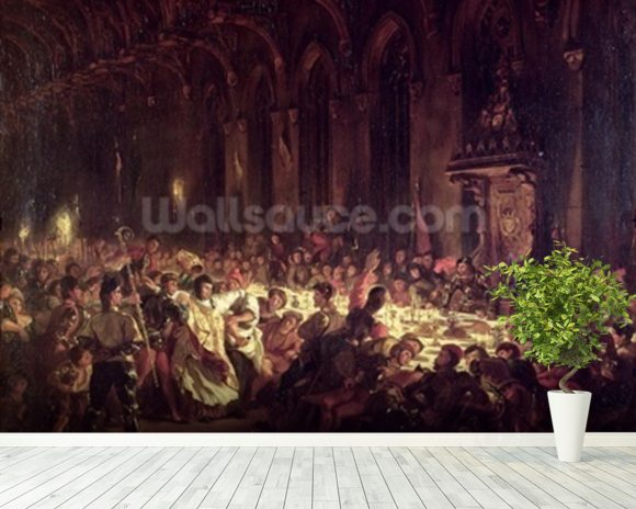 The Assassination of the Bishop of Liege, 1829 (oil on canvas) wall mural room setting