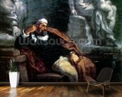 Michelangelo (1475-1564) in his Studio (oil on canvas) wall mural kitchen preview