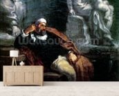 Michelangelo (1475-1564) in his Studio (oil on canvas) wall mural living room preview