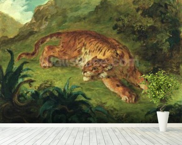 Tiger and Snake, 1858 (oil on paper mounted on panel) mural wallpaper room setting