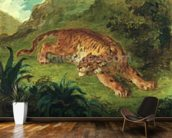 Tiger and Snake, 1858 (oil on paper mounted on panel) mural wallpaper kitchen preview