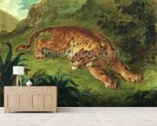 Tiger and Snake, 1858 (oil on paper mounted on panel) mural wallpaper living room preview