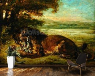 Lion and Alligator, 1863 (oil on panel) wall mural