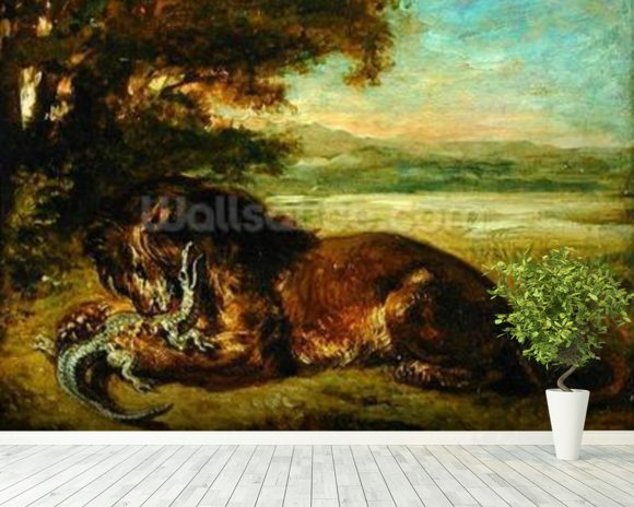 Lion and Alligator, 1863 (oil on panel) wall mural room setting