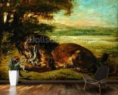 Lion and Alligator, 1863 (oil on panel) wall mural kitchen preview