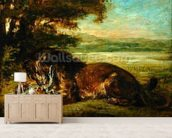 Lion and Alligator, 1863 (oil on panel) wall mural living room preview